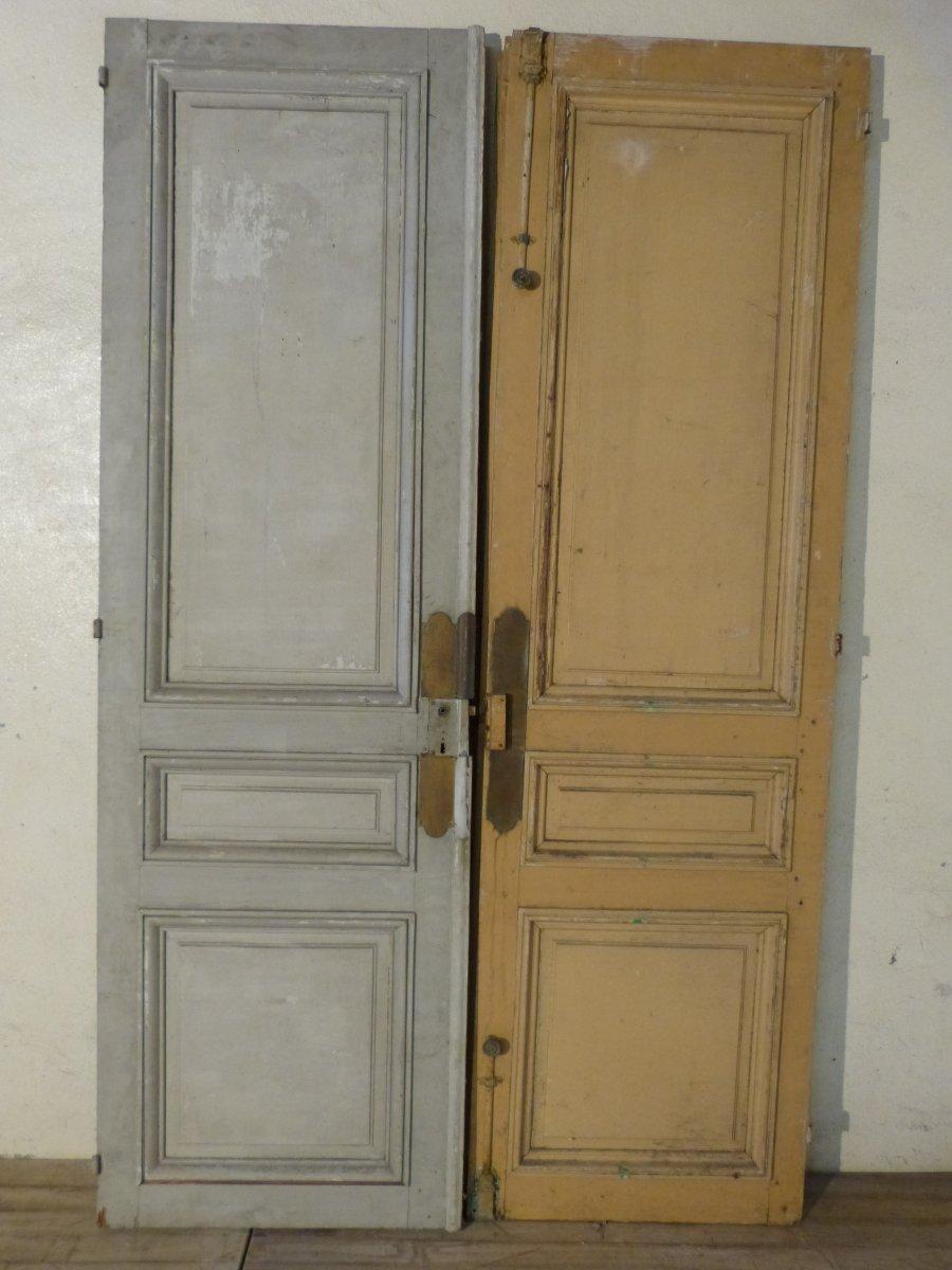 Paire De Grandes Portes à Miroirs 19ème,  244 X 75 Cm Chaque-photo-3