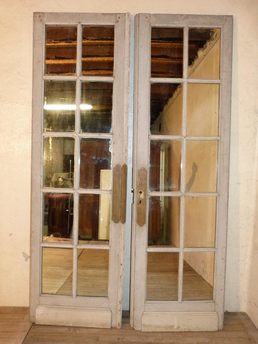 Paire De Grandes Portes à Miroirs 19ème,  244 X 75 Cm Chaque