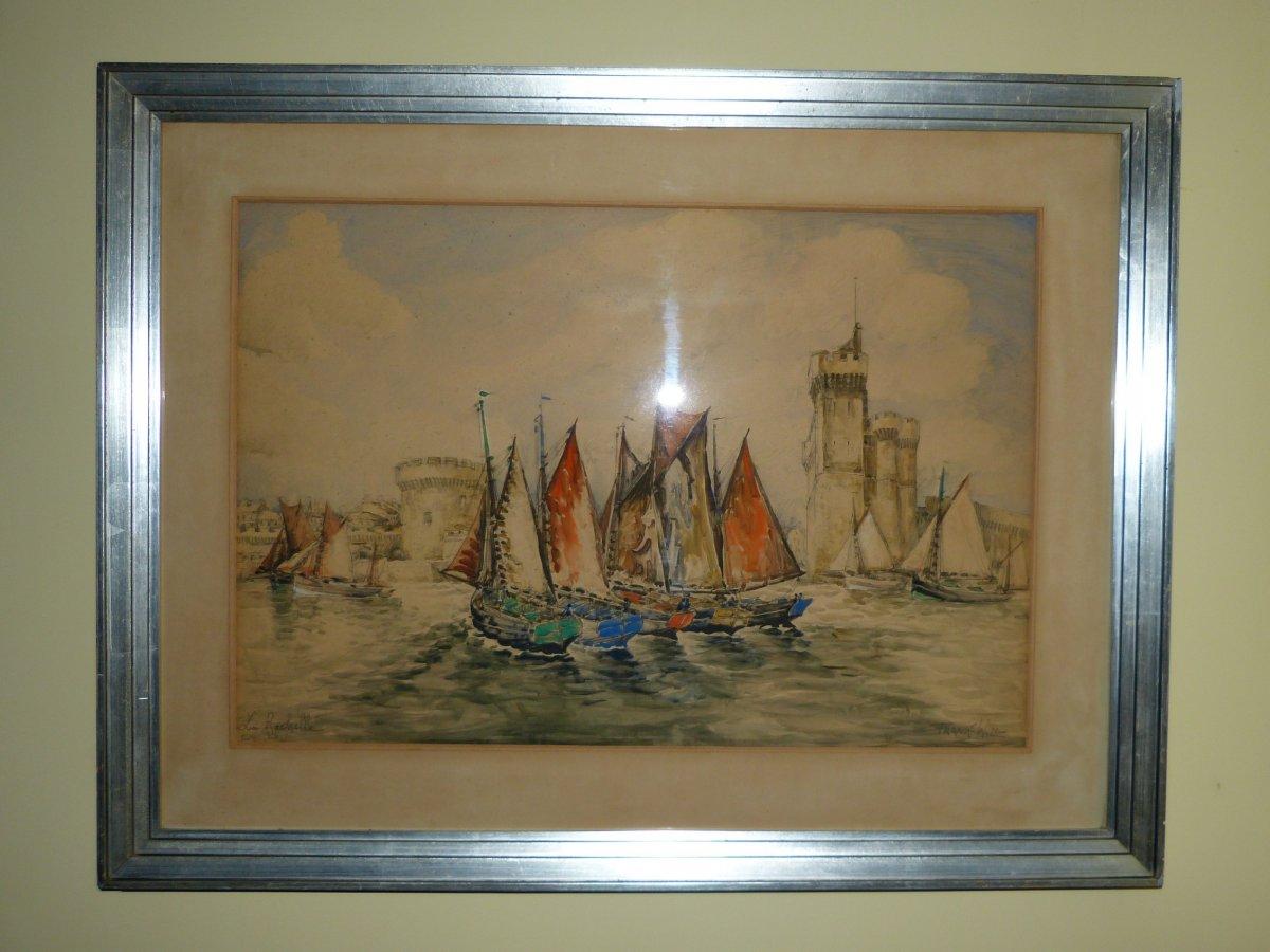 Frank Will ,  Aquarelle La Rochelle 64 X 84 Cm