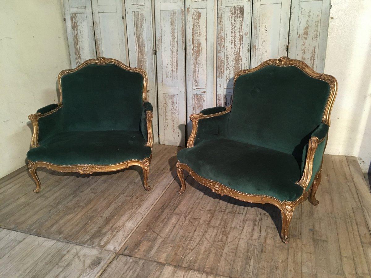 Paire De Marquises Louis XV Bois Doré Napoléon III