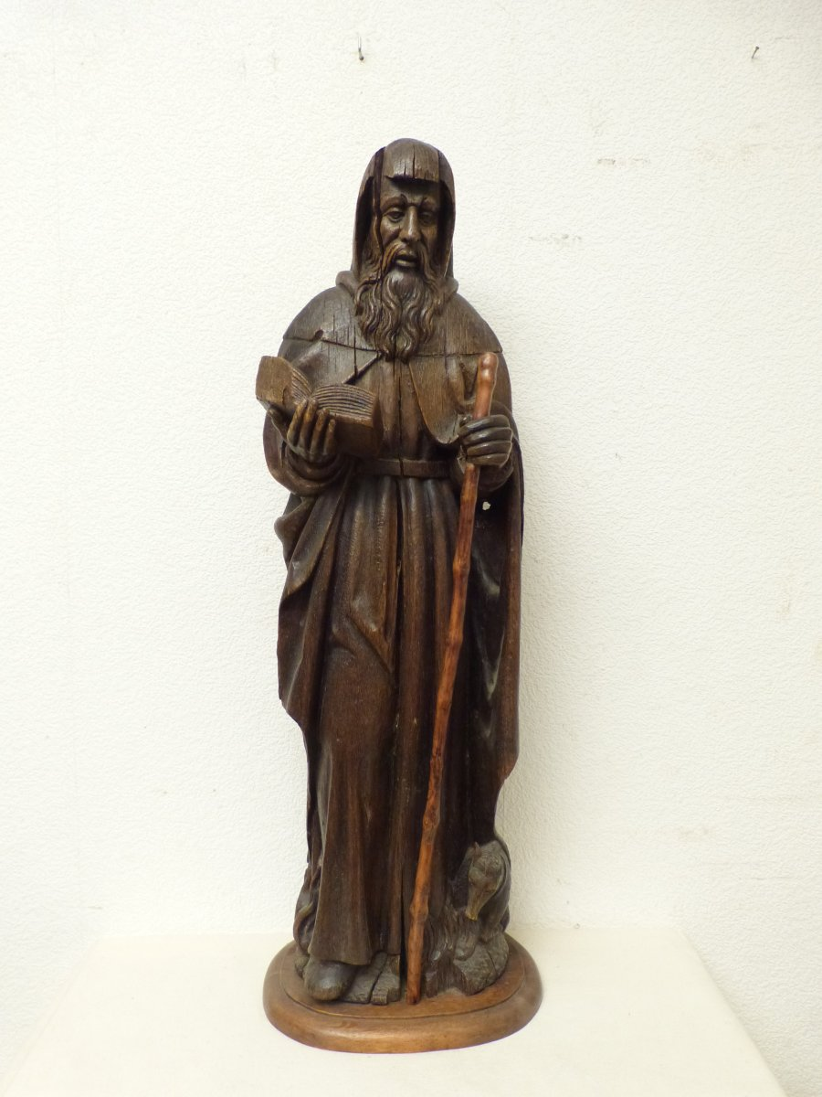 Saint Anthony And His Attribute The Pig 93 Cm Epoque 18th Oak