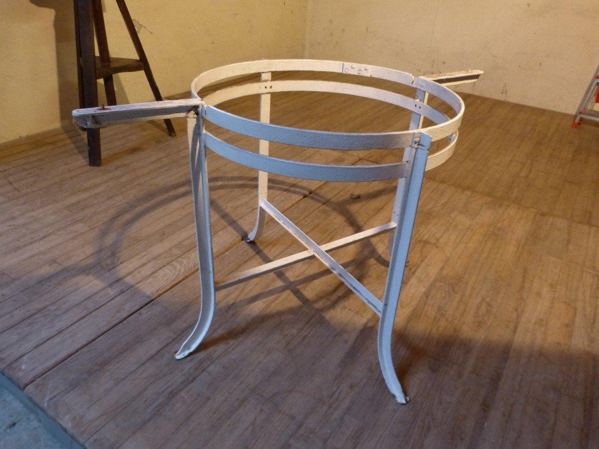 Table Mosaïque De Marbre Motif Suisse Helvetica Propatria Pied Fer Forgé-photo-6
