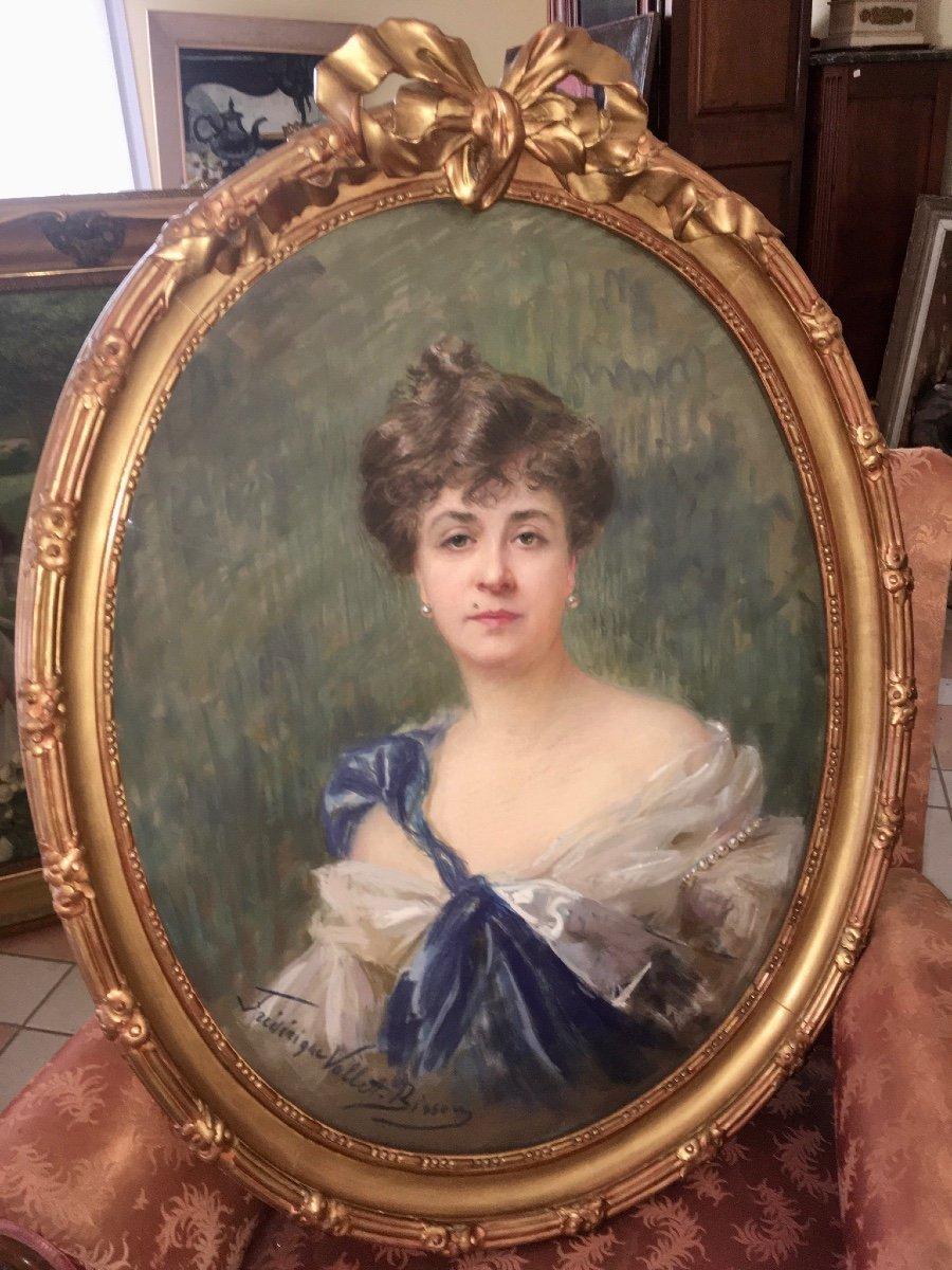 Frédérique Vallet Bisson, Grand Pastel  Portrait d' Elégante, Cadre Doré