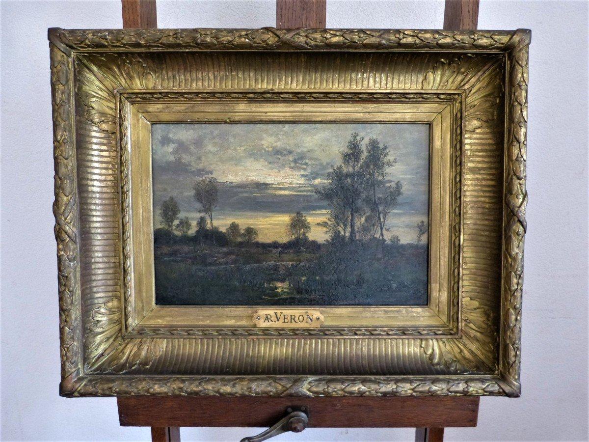 Alexandre René Veron Paysage Barbizon Suiveur De Daubigny