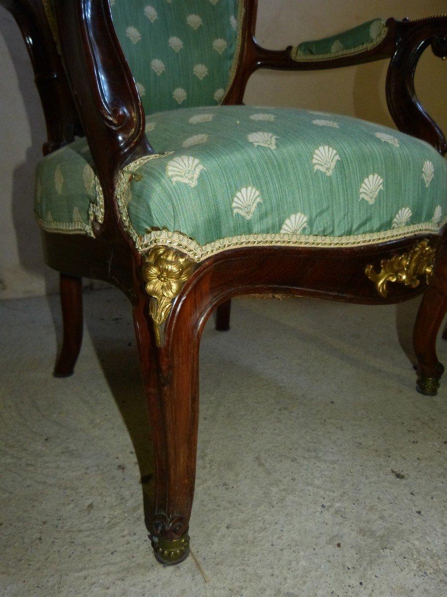 Salon En Acajou Et Bronzes Dorés  Napoléon III Attribué à Jeanselme -photo-1
