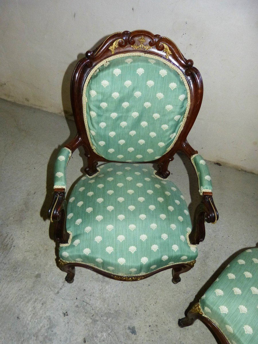 Salon En Acajou Et Bronzes Dorés  Napoléon III Attribué à Jeanselme -photo-8