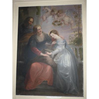 Très grand tableau: Education De La Vierge d'après Rubens