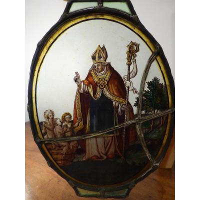 Rondel Vitrail Saint Nicolas XVII°