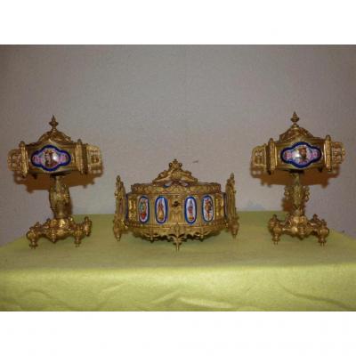 Garniture En Bronze Doré Renaissance Coffret Et Cassolettes