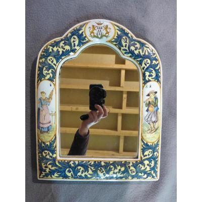 Porquier Beau Quimper Petit Miroir Décor Breton En Faïence