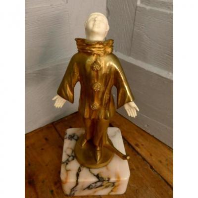 Barthelemy, Sculpture Chryséléphantine Pierrot  Art Déco