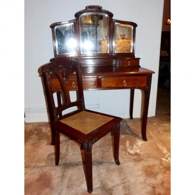 Art Nouveau Mahogany Vanity And Chair School Style Nancy