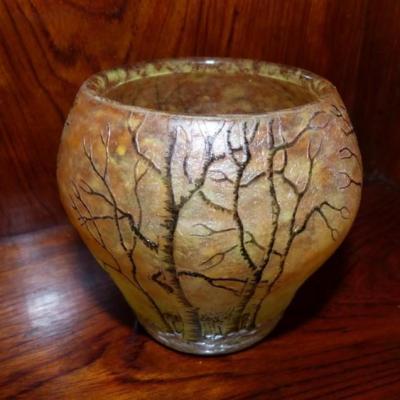Daum Nancy, Vase Au Paysage De Neige En Hiver