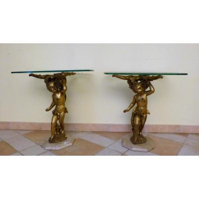 Pair Of Coffee Tables In Golden Wood And Glass Of Venice, Tips Of Sofa