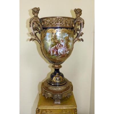 Grand Vase Porcelaine Napoléon 3 et Bronze Doré Style Sèvres