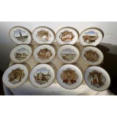 Notre Dame De La Trappe, Series Of 12 Plates In Earthenware