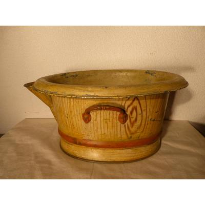 """Planter In Painted Sheet Metal """"a The Housewife"""" Paris Trompe The Eye Of Wood"""