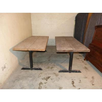 Deux Grandes Tables d'Atelier 197 Cm ,pieds Métal Plateaux épais