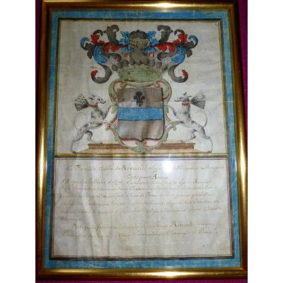 Gouache On Vellum Coat Of Arms Of Rivault Bretagne Coat Of Arms Heraldry