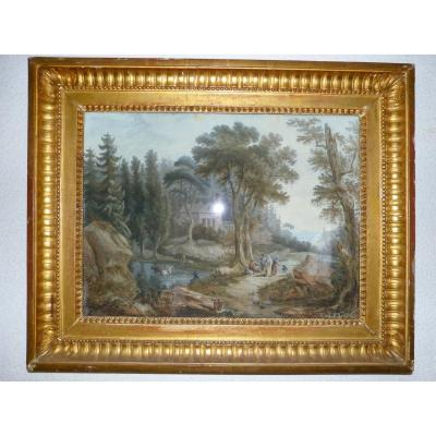 Jean Baptiste Pourcelly Gouache 18th Animated Landscape