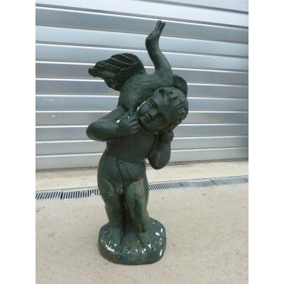 Statue Of Garden Cast Iron Cherub Cygnus 19th Time