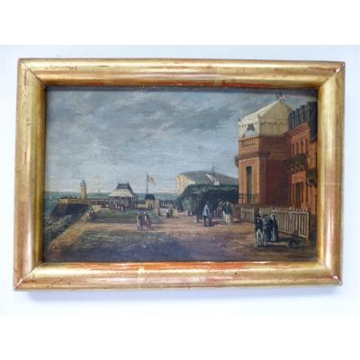 Victor Daulnoy, View Of The Tréport Oil On Cardboard 19th, 25 X 17 Cm
