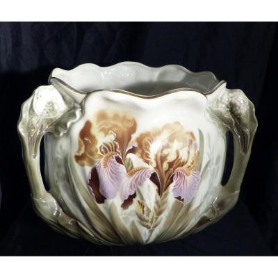 Kg Lunéville Gros Cache Pot Art Nouveau En Faïence Décor Iris