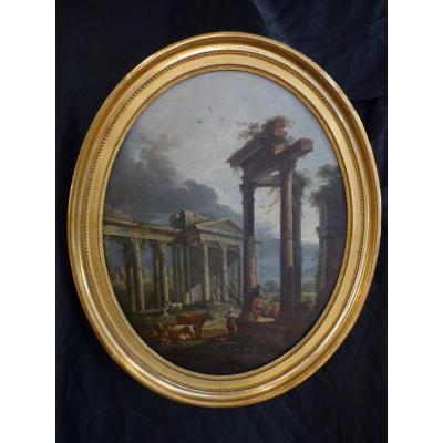 Jean Baptiste Claudot , Paysage Animé Aux Ruines