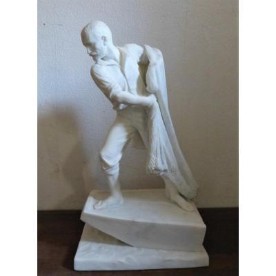 Pierre Ogé, Sculpture En Marbre 19ème,  Pêcheur Au Filet