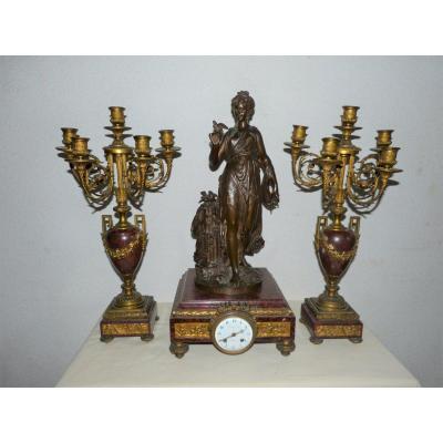 Raingo Et Gregoire : Garniture Pendule Et Paire De Candélabres En Bronze Doré Et Marbre