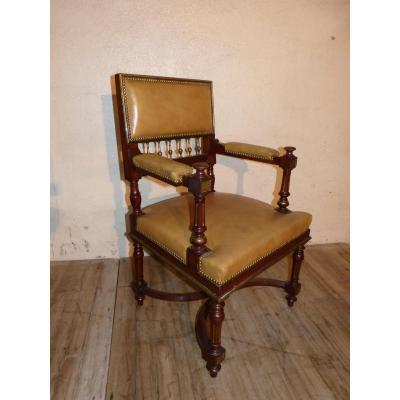 Rare Office Chair Mahogany And Bronzes, Napoleon III