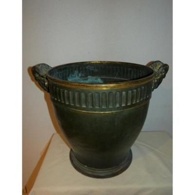 Christofle Et Cie Important  Cache Pot En Bronze Hauteur 50 Cm