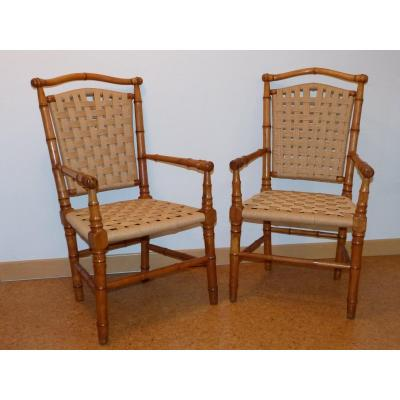 Pair Of Bamboo Armchairs In Cherry Winter Gardens