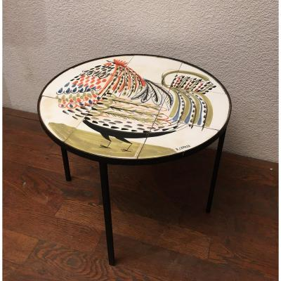 Roger Capron, Circular Coffee Table In Ceramic Tiles Rooster Decor