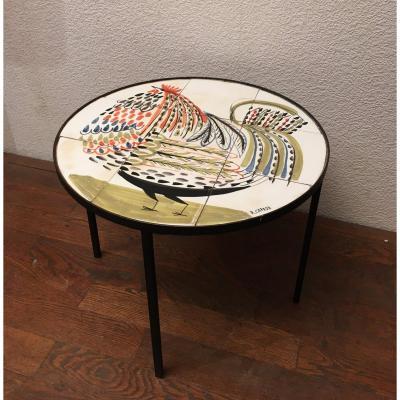 Roger Capron , Table Basse Circulaire En Carreaux De Céramique Décor Coq