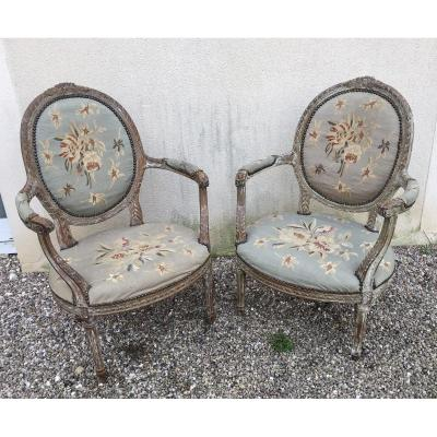 Pair Of Louis XVI Style Armchairs 19th Time