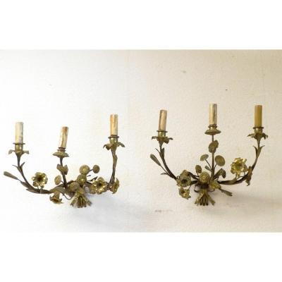 Paire d'Appliques En Bronze Décor Fleurs Napoléon III époque XIXème