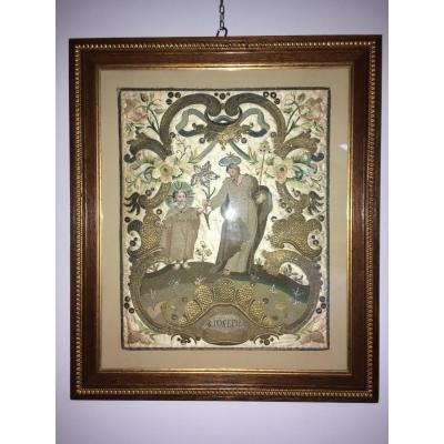 Saint Joseph, Embroidery, Gold And Silver Son, 19 Eme Century