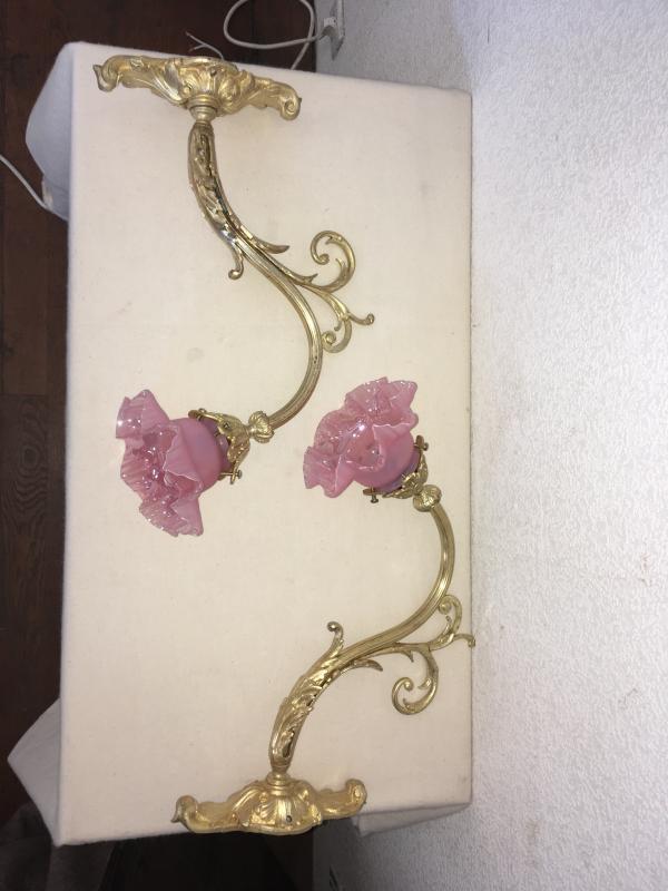 Paire D Appliqués En Bronze Doré, Tulipes En Verre Nacré Rose-photo-4