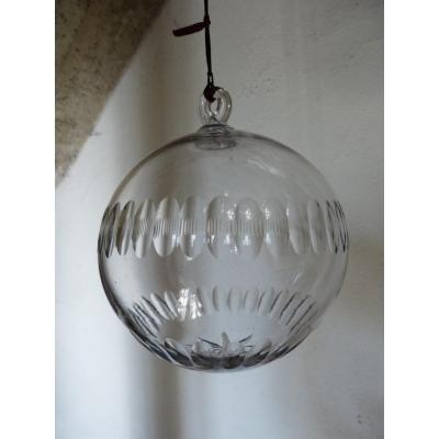 Enorme Boule En Cristal Taillé Diamètre 17 Cm , 19 ème , Pour Lustre Ou Décoration,