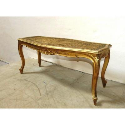 Banquette De Piano En Bois Doré Napoléon III style Louis XV