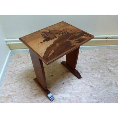Gallé, Small Art Deco Coffee Table Rocky Coast Pattern In Brittany H 46 Cm