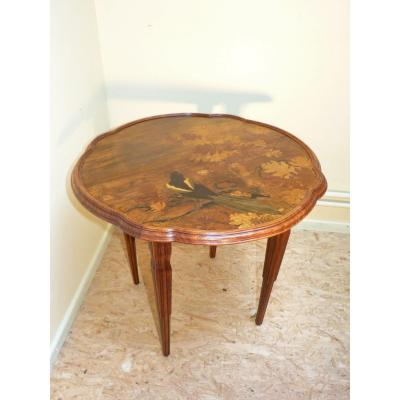 Emile Gallé, Table Basse Art Nouveau à La Pie