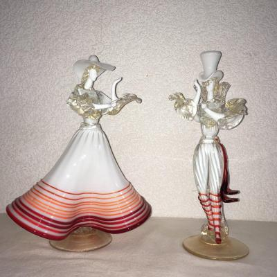 Murano: Pair Of Dancers In Spun Glass