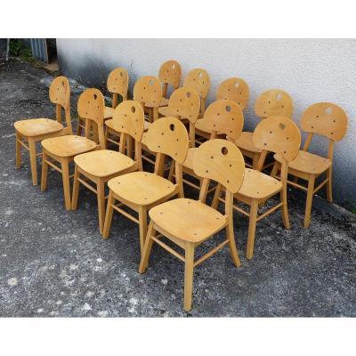 Série De 15 Chaises Vintage De Bistrot Années 70