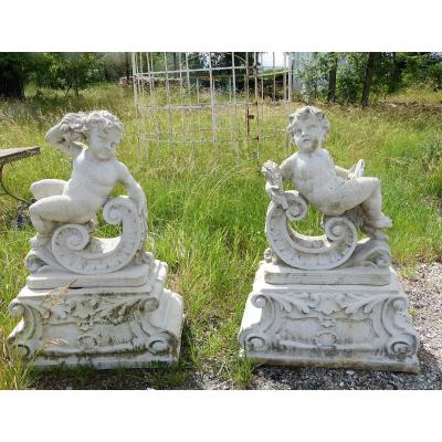 Pair Of Reconstructed Stone Garden Statues Height 118 Cm