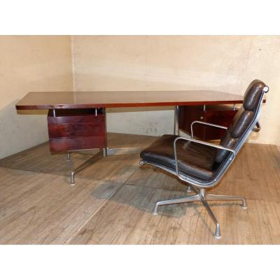 Charles Et Ray Eames Grand Bureau + 2 Fauteuils Soft Pad Années 70