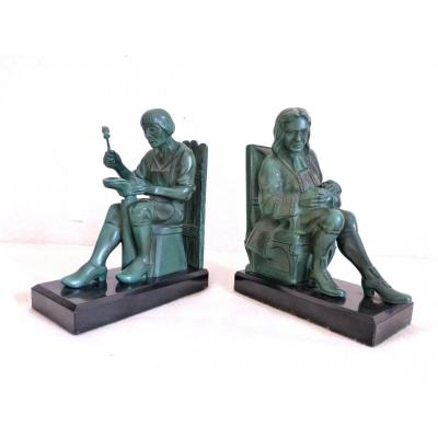 Max Le Verrier Pair Of Savetier And Financial Bookends