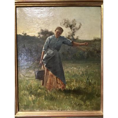 Eugène Berthelon, Oil On Canvas, Scene Of Labor