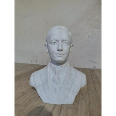 Bust In White Marble, Young Man With Suit, Early 20th Century